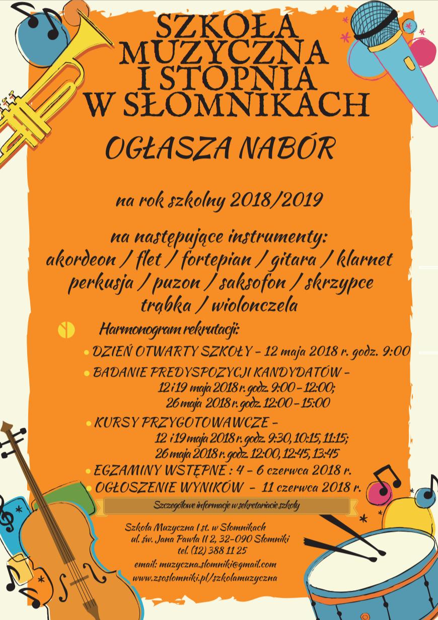 Szkoła Muzyczna w Słomnikach, nabór na rok szkolny 2018/19, plakat